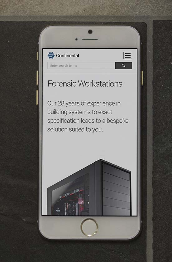 Continental Corporate website on phone