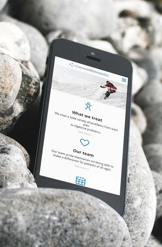 Cotswold Osteopaths responsive website on mobile phone
