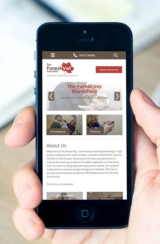 The Forest Vet mobile website on iPhone