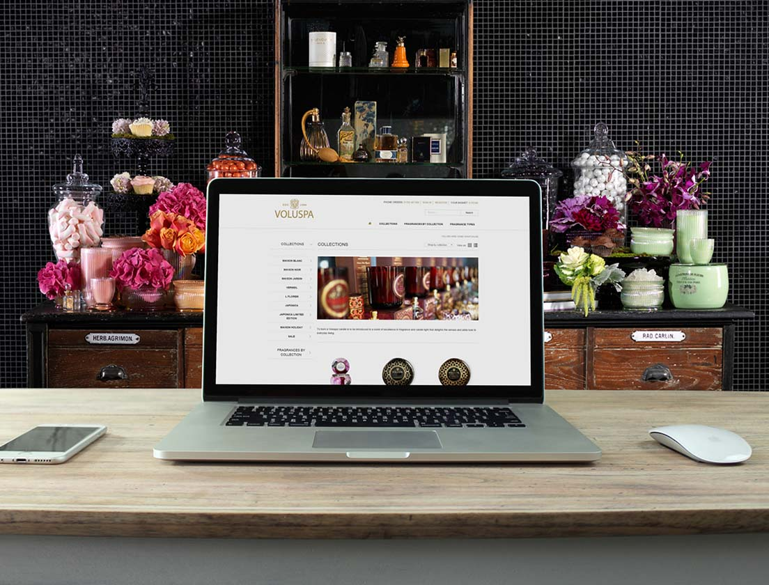 Voluspa ecommerce website on MacBook