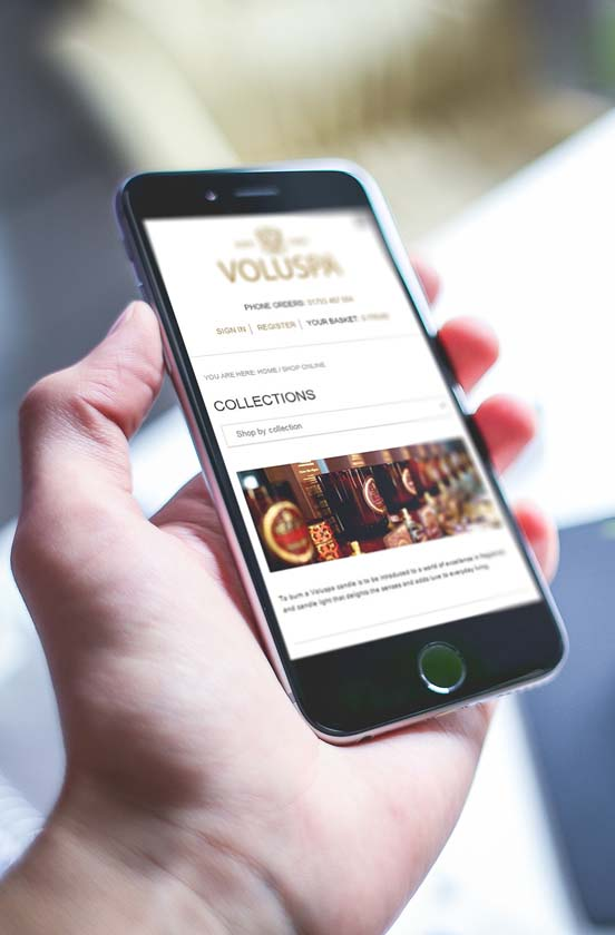 Voluspa ecommerce website on mobile