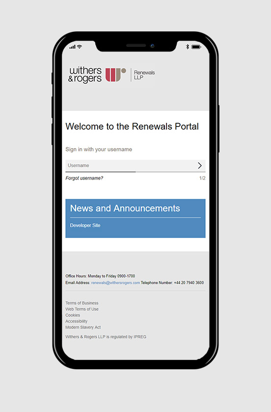 withersrogers responsive website on iPhone