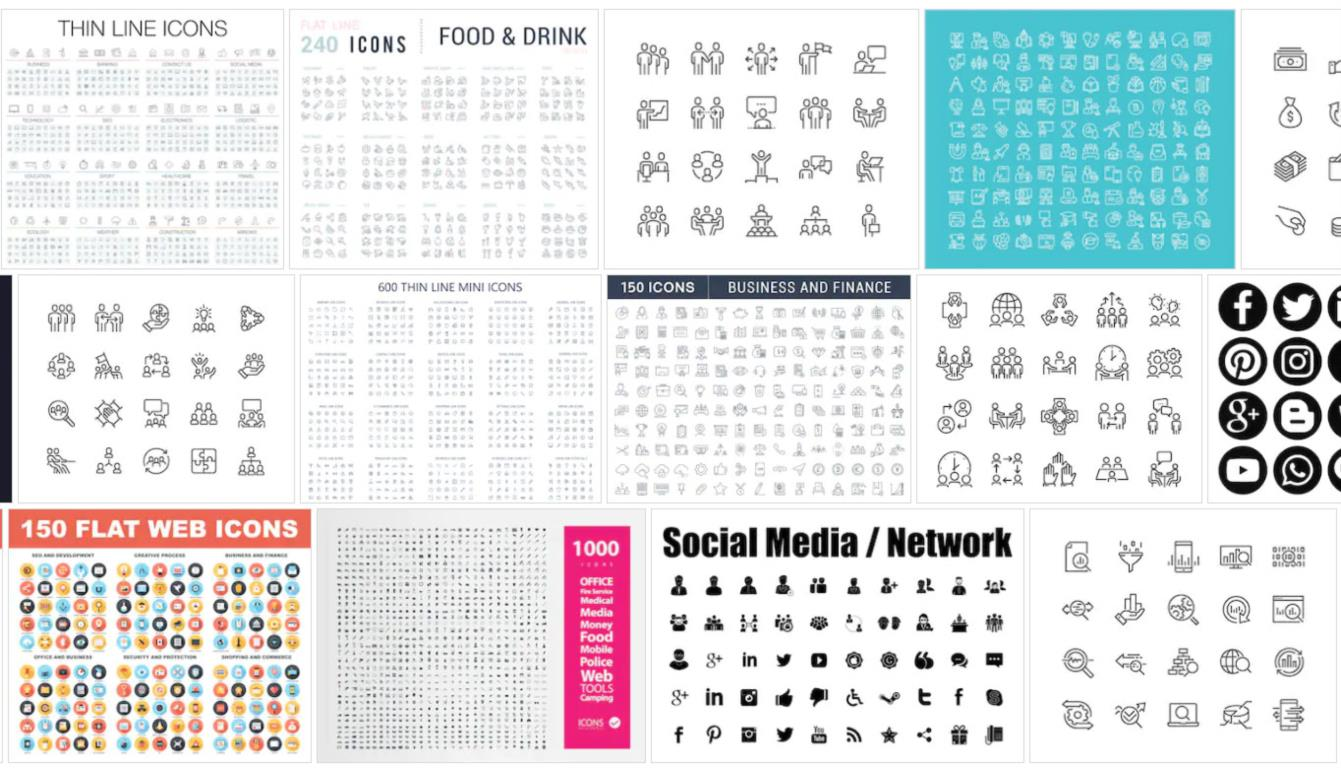 Stock Icons from the likes of ShutterStock